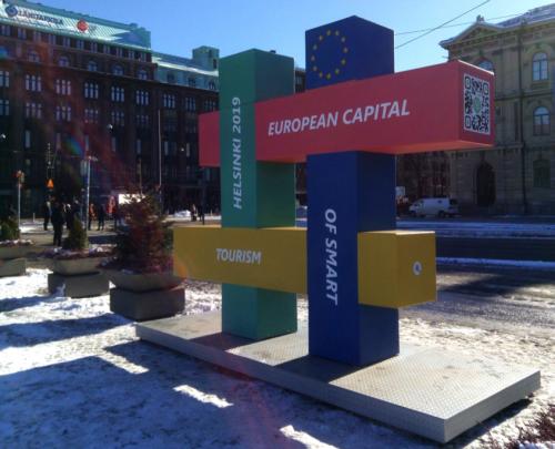 Helsinki hashtag sculpture